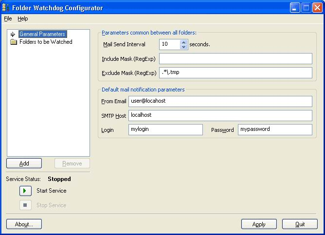 Click to view Folder Watchdog Service 1.6.5 screenshot