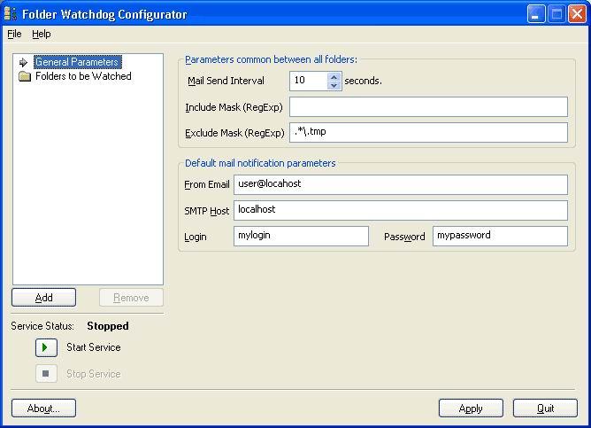 Click to view Folder Watchdog Service 1.6.5 screenshot